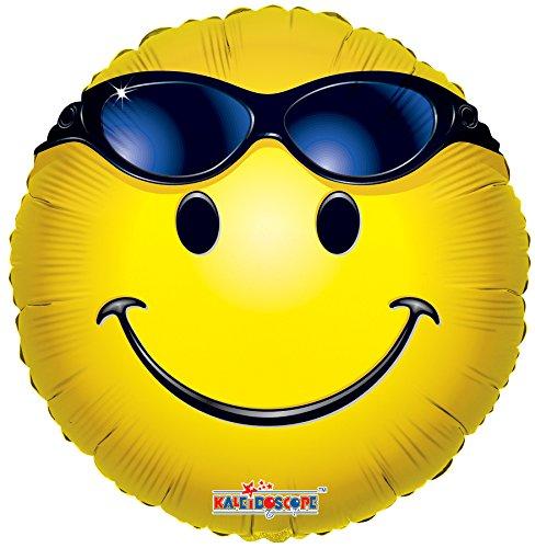 Kaleidoscope Folienballon Smiley gelb mit Sonnenbrille 45 cm ungefüllt (Ballongas geeignet)