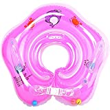 2021Newly upgraded Thicken baby swimming ring neck float, baby neck ring float for bathtub, newborn toddler neck inflatable swimming float, Double Airbag,with Armrest, for Baby 0-18 Months (Pink)