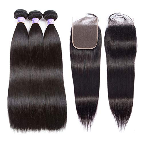 AMZTMY Brazilian Straight Hair 3 Bundles with Closure 100% Unprocessed Virgin Human Hair Bundles with 55 Lace Closure Remy Hair Weave Extensions Natural Color (10 12 14+10 Closure)