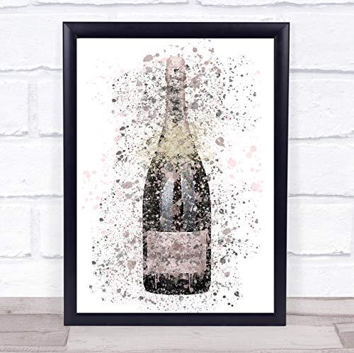 Rose roze keizerlijke champagne fles muur kunst ingelijst Print Large A3