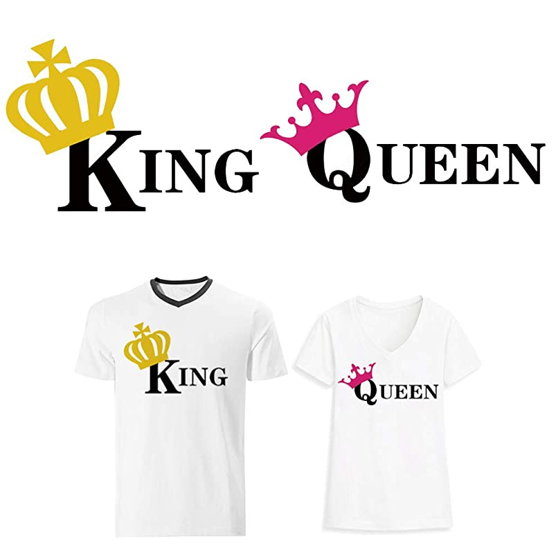 Valentine Iron On Patches King and Queen Iron On Stickers Heat Transfer Appliques DIY Lovers T-Shirt Dresses Thermal Transfer Patch for Clothing(2 Pcs) ukdgijhw554354