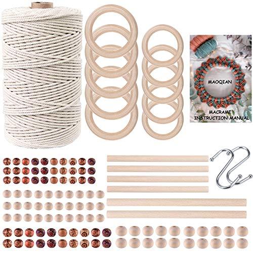 120pcs Macrame Kits for Beginners 3mm x 220yards Natural Cotton Macrame Cord...