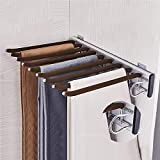 KDDFN Hanging Pull Out Trousers Storage Rack,Multi Functional Pants Rack,Pull Out Closet Pants Hanger,for Clothes Towel Scarf Trousers Tie (Right Side Mounted)