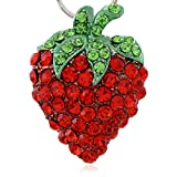 Soulbreezecollection Green Leaf Red Strawberry Berry Fruit Pendant Necklace Charm Designer Fashion Jewelry
