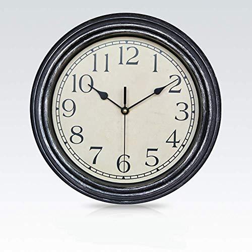 LNDDP Große Retro Wanduhr Silent Non-Ticking Round Klassische Uhr Retro Quarz Dekorative Batteriebetriebene Wanduhr für Wohnzimmer Küche Home Office