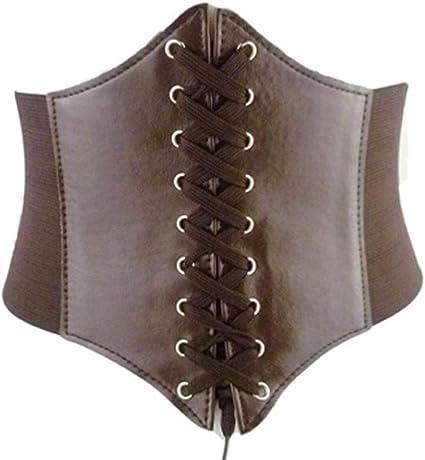 asp donna cintura con fibbia larga cintura in vita cintura sottoseno  corsetto, marrone : amazon.it: moda  amazon.it