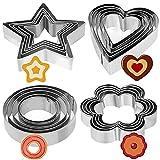 Crethink, mini formine in acciaio inox a forma di stella, cuore, fiore e cerchio, ideali per biscotti, 20 pezzi