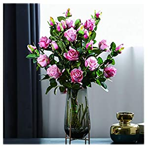 NYKK Decoration Artificial Rose Flowers Bouquet 12 Heads Silk Flowers Rose Used in The Living Room Bedroom and Kitchen Beautiful Fashion Table Centrepieces