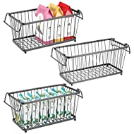 """mDesign Household Stackable Metal Wire Storage Organizer Bin Basket with Built-In Handles for Kitchen Cabinets, Pantry, Closets, Bedrooms, Bathrooms - 12.5"""" Wide, 3 Pack - Graphite Gray"""