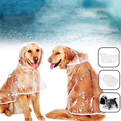MHYNLMW PU Vêtements pour Animaux de Compagnie imperméable Chien imperméable imperméable Transparent PVC Manteau de Pluie avec Capuche (Color : S)
