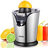 Orange Juice Maker, Aicok Orange Juicer Electric Squeezer, Stainless Steel Citrus Juicer with 100W Ultra Quiet Motor, 2 Size Cones, Anti-Drip Spout, BPA-Free