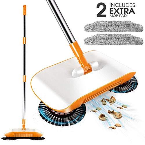 MASTERTOP 3-in-1 Kehrbesen Kehrmaschine mit 2 Mikrofaser Moppkopf,Kehrschaufel und Mülleimer für die Haushaltsreinigung - Sweeper Kehrer ohne Strom