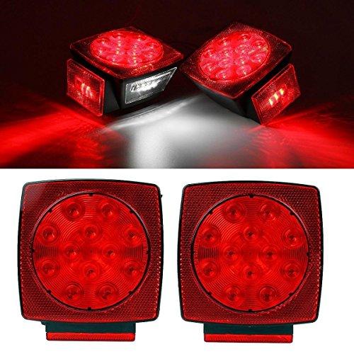 Haichen paires de 12 V Rouge + LED Blanc Camion Remorque submersibles moins de 203,2 cm arrière sans licence Queue de frein kit d'éclairage