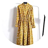 Chercher M Corduroy High Elastic Waist Vintage Dress A-line Women Full Sleeve Floral Print Dresses,24,XL