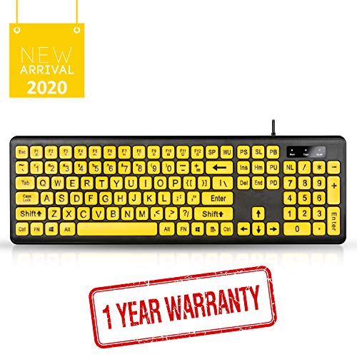 Large Print Computer Keyboard with Yellow Keys and Black Letters, Wired USB Keyboards for Visually Impaired Low Vision Individuals