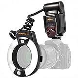 Impulsfoto i-TTL Makro Ringblitz (Leitzahl 14-46) Fuer alle Nikon DSLR Kameras mit Blitzschuh (Fuer...