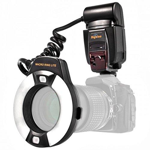Impulsfoto i-TTL - Flash ad anello macro (numero guida 14-46) per tutte le fotocamere Nikon DSLR con slitta flash (per obiettivi da 52 mm - 77 mm) - Meike MK-14EXT