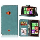 Sangrl Lederhülle Schutzhülle Für Nokia Microsoft Lumia 625, PU-Leder Klassisches Design Wallet Handyhülle, Mit Halterungsfunktion Kartenfächer Flip Hülle Blau
