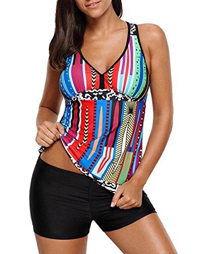 Tempt Me Women 2 Piece V Neck Tankini Swimsuit Boyshort Bottom Multicoloured XXL