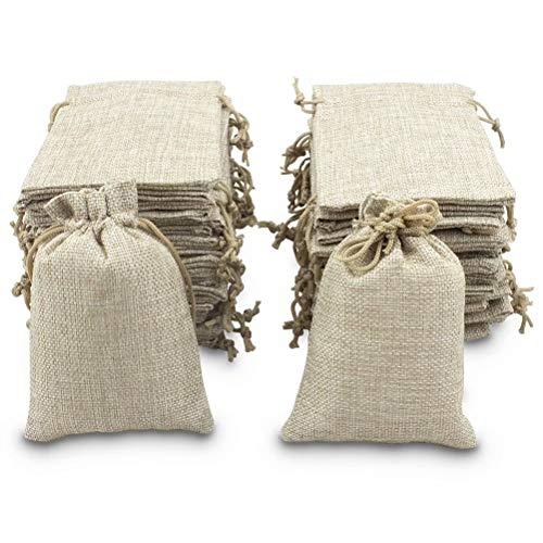 BeGrit 25er Set Jutesäckchen Geschenksäckchen Leinen Schmuck Säckchen 10cm*14cm Zugband für adventskalender Hochzeitsfeier und DIY Handwerk
