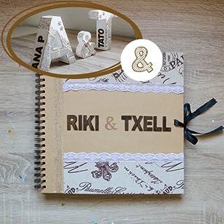 Kit 3 letras decoradas y libro de firmas, estilo vintage-rústico para bodas. Letras decorativas para boda. Nombre lateral ...