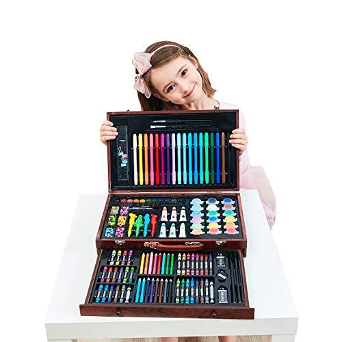 DUBAOBAO 130 stks schilderij set schilderij borstel aquarel pen kinderen houten doos krijt student tool gift box, verf pennen, kunst set, aquarel borstel,