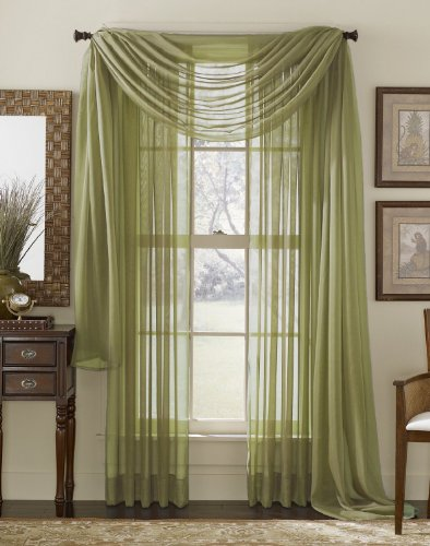 3 Piece Sheer Panel (2 Pieces 58' x 84') and Scarf Window (1 Pieces 37' x 216') Curtain Combo Set (Sage Green)
