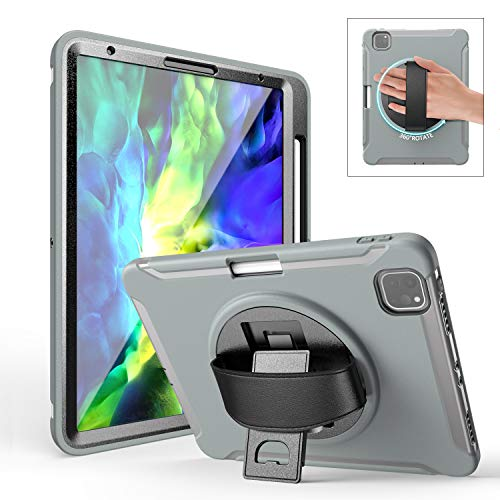 iPad Pro Case 11 Inch with Pencil Holder | TSQ iPad Pro 11 2020 Case 3 Layers Hard Rugged Drop Resistant Protective iPad Pro 11 Accessories with Leather Hand Strap/ 360 Rotation Kickstand | Grey