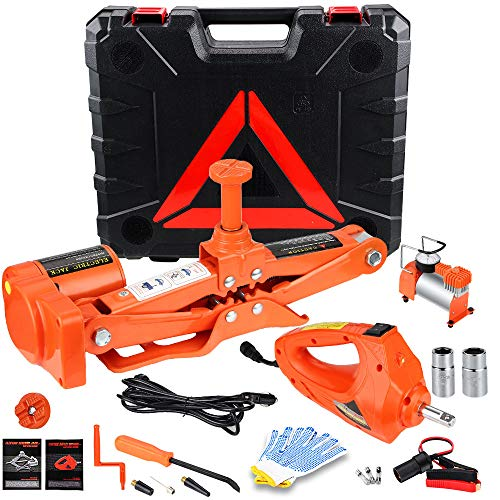 Anbull Electric Car Floor Jack 3 Ton Automatic 12V Scissor Lift Jack with Electric Impact Wrench and Tire Inflator Pump for Tire Change & Repalcement for Sedan & SUV