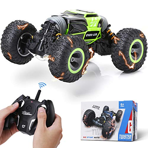 Steamprime Remote Control Car Rc Car,2.4 GHz Fast Speedy Rc Drift Race Car with Rechargeable Batteries,Rock Crawler Truck Monster Vehicles Buggy Hobby Car Toy Gifts for Boys Kids Girls Adults-Green