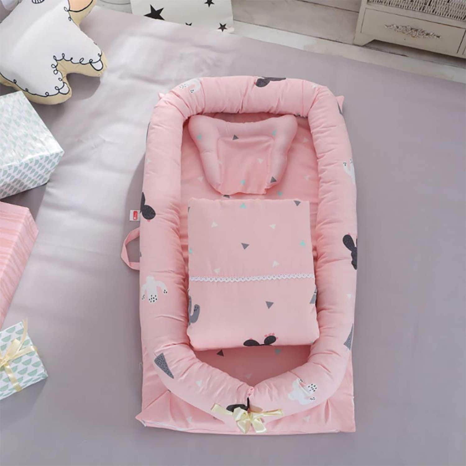 Crib Cotton Multi-Function Folding Portable Travel Baby Bionic Crib Suitable for Age 0-24 Months Baby (Removable Quilt),A