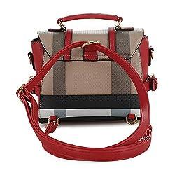 SG SUGU Small Plaid Lightweight Crossbody Bag Fashion Backpack Top Handle Purse   Brown/Red