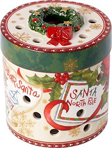 Villeroy & Boch Christmas Toys Paquet cadeau petit, rond, lettres, Porcelaine, Blanc/Rouge, 9 x 0,1 x 0,1 cm
