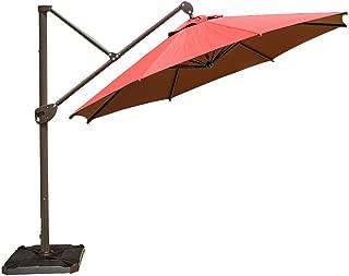 Abba Patio Offset Patio Umbrella 11-Feet Hanging Cantilever Umbrella with Cross Base and Umbrella Cover, Dark Red
