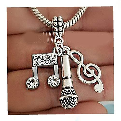 Microphone Music Note Charm with Bracelet Necklace Keychain, Clef G note Charm, I Love To Sing Jewelry for Teenage Girls and Women