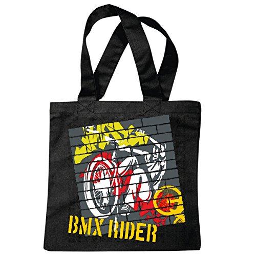 Tasche Umhängetasche BMX Team Rider Freestyle Bicycle Motocross BONANZARAD Fahrrad Freestyle Mountainbike Einkaufstasche Schulbeutel Turnbeutel in Schwarz