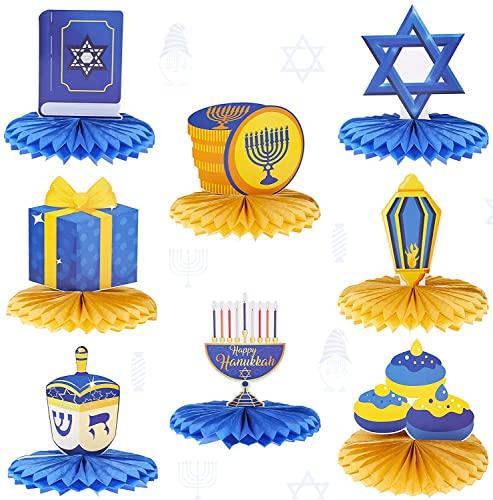 8pcs Hanukkah Honeycomb Centerpieces, Honeycomb Table Toppers Decor with Star Dreidel Menorah Style for Hanukkah Home Room Ornaments Table Decorations Chanukah Party Supplies