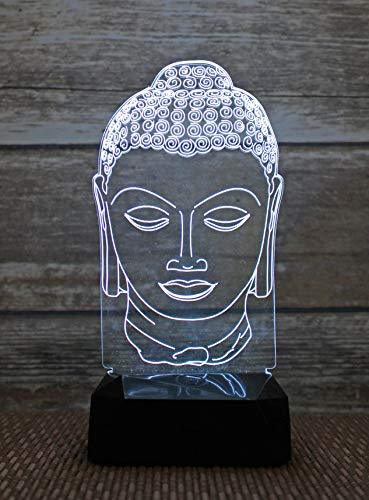 3D Night Light 9'' Lamp Touch-Switch LED 7 Colors Decor/Indoor Stands/Birthday Gift/Christmas 10oz (Buddha Head)
