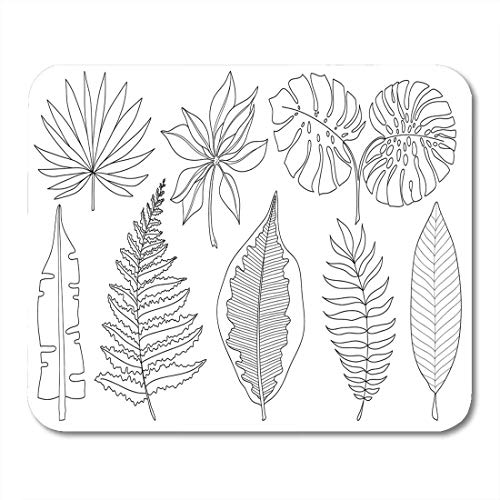 Mauspads tropische palmblätter schwarze silhouetten weißes laub naturbilder mauspad für notebooks, Desktop-computer matten büromaterial
