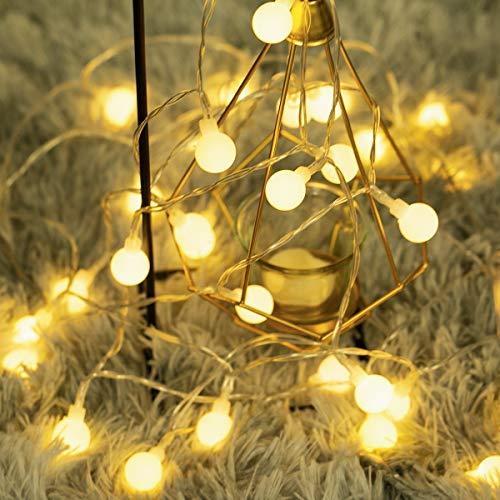 Fulighture Catena di Lampadine,Catena Luminosa,5m Lampadina Illuminazione 40 LED Bulbo Lampade Ghirlanda per Casa, Festa,Matrimonio,Alimentato a batteria,Esterno Impermeabile IP65,Bianco Caldo3300K