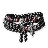 coai Geschenkideen Unisex 108 Mala Kette aus Obsidian und Rotes Tigerauge Buddhistisches Wickelarmband Halskette