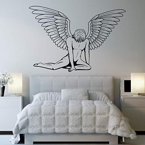hllhpc Home Decoratie poster Muursticker Verkoop Een Man Met Vleugels Engel Slaapkamer Zwart s Art HomeDecals 61x42cm
