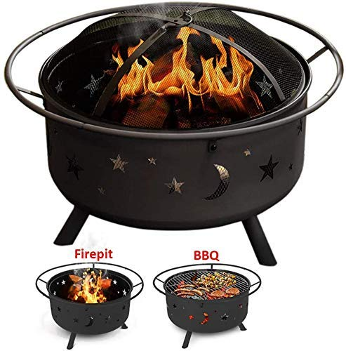 DFKDGL Large Fire Pit, Round Fire Pit and BBQ Ice Pit Patio Heater Stove Metal Outdoor Garden Moon and Stars Firepit for Garden Patio, Outdoor Metal Brazier Firepit Heater/BBQ/Ice Pit fire pit tabl