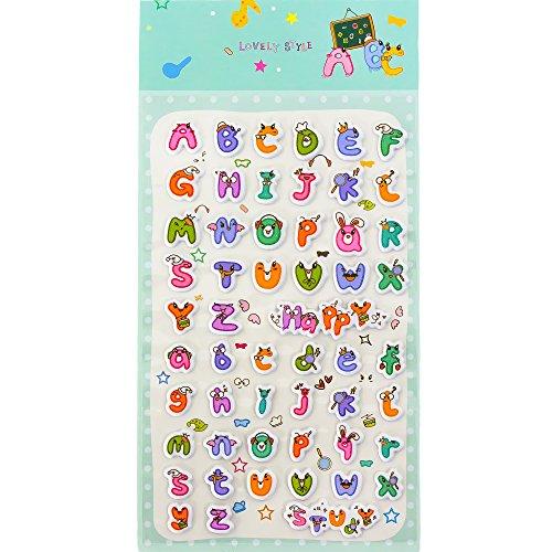 Oblique Unique® ABC Alphabet 3D Sticker 52 Buchstaben Set Aufkleber Kinder spielerisches Lernen Deko