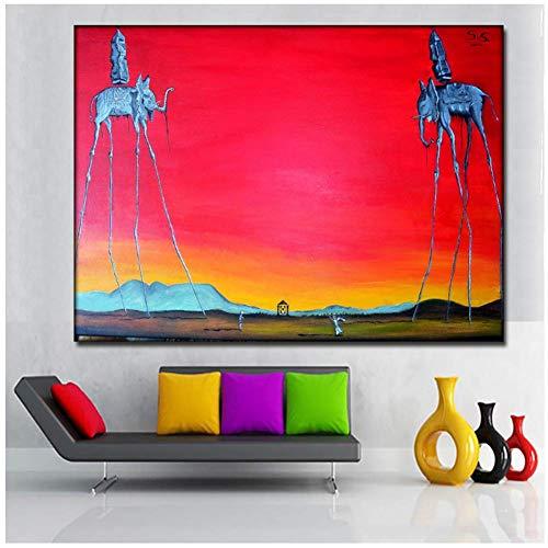 A&D Salvador Dali Elefant Lange Beine Gemälde Roten Hintergrund Leinwand Gedruckt Wandkunst Drucke Poster Für Wohnzimmer Wohnkultur-60x80cmx1 stücke-Kein Rahmen