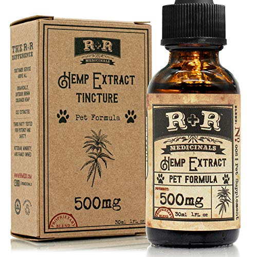 R+R Medicinals Organic Hemp Oil Extract for Dogs and Pets, Separation Anxiety, Joint Pain, Stress Relief, Anxiety, Anti-Inflammatory, Omega Oil, Calming Drops - (500mg, 16.7mg Serving x 30 Servings)