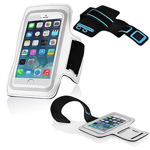 Cadorabo – Neopren Smartphone Sport Armband Fitnessstudio Jogging Armband Oberarmtasche kompatibel mit 4.5 – 5.0 Zoll Handys wie z. B. Apple iPhone 6, 7, Samsung Galaxy A3, > HTC ONE A9 < usw. mit Schlüsselfach und Kopfhöreranschluss in WEISS