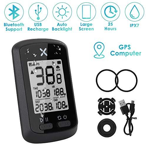 WOTOW GPS-Fahrradcomputer, drahtloser Radfahren-Geschwindigkeitsmesser Wasserdichter Fahrrad-Kilometerzähler Bluetooth ANT + Sensorunterstützung USB Wiederaufladbar mit 1,8-Zoll-LCD-Bewegungssensor
