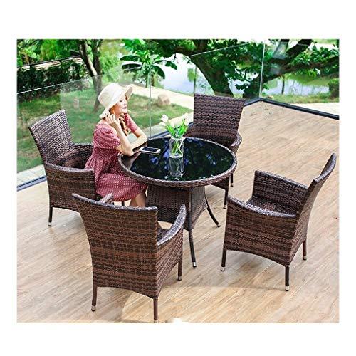 Muebles de vida al aire libre Muebles de rattan Muebles de jardín Patio al aire libre Patio de ratán comedor Conversación Juego de mesa Tejido de mimbre Mesa de café Patio al aire libre (de 4 piezas C