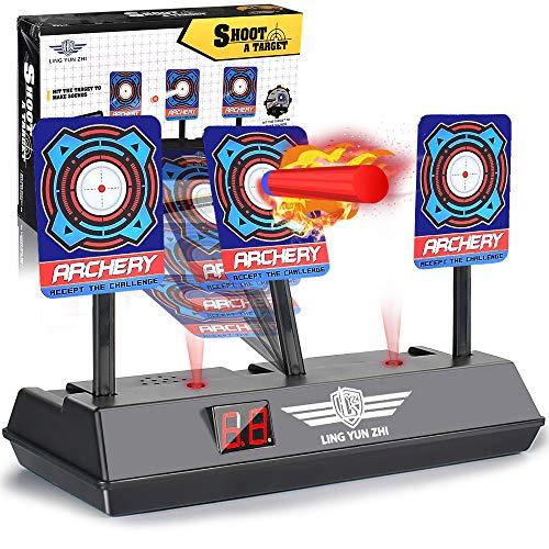 LYcare Electric Digital Target for Nerf Guns,Scoring Auto Reset Nerf Target for Shooting with Wonderful Light Sound Effect for Blaster N-Strike Elite/Mega/Rival Series-Best Gift for Kids